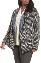 Nic Zoe Plus Size Women's Sunbloom Reversible Open Front Cardigan Grey Multi