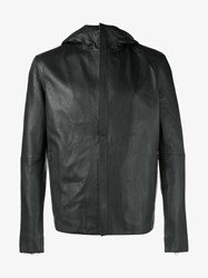 Lot 78 Hooded Leather Jacket Black Natural Indigo