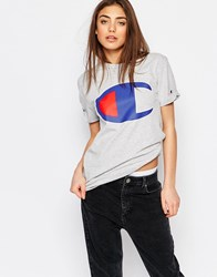 Champion Oversized Boyfriend T Shirt With Retro Oversized Logo Gray