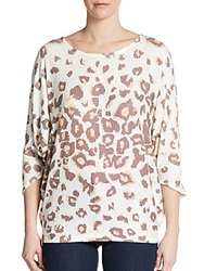Go Couture Cheetah Print Dolman Sweater Ivory Brown