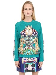 Mary Katrantzou Peacock Printed Heavy Cotton Sweatshirt