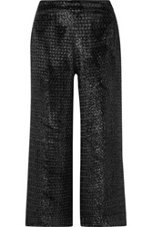 Brandon Maxwell Cropped Metallic Velvet Wide Leg Pants Black