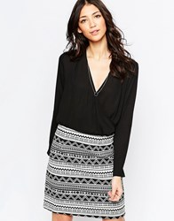 Lavand Wrap Front Dress With Contrast Skirt Bkw
