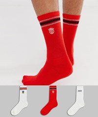 New Look Socks With Paralell Print In 3 Pack Multi
