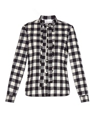 Red Valentino Ruffle Front Checked Cotton Shirt