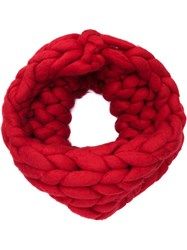 Christian Siriano Chunky Knit Snood Red