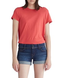 Hudson Destructed Cropped Vintage Tee Distressed Cherry