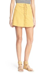 Women's Free People 'Walk My Way' Lace Up Linen And Cotton Miniskirt Honey