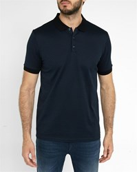 Hugo Hugo Boss Blue Chevron Pattern Mercerised Polo Shirt