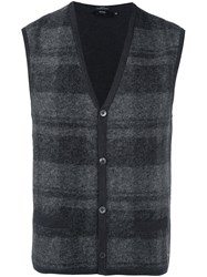 Hugo Boss Plaid Cardigan Vest Grey