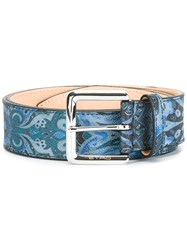 Etro Abstract Print Belt Blue