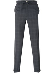 Pt01 Checked Trousers Men Polyester Spandex Elastane Virgin Wool 54 Grey