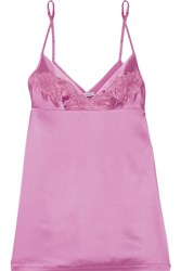 La Perla Windflower Embroidered Stretch Silk Satin Chemise Baby Pink