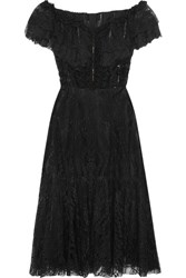 Dolce And Gabbana Off The Shoulder Ruffled Lace Midi Dress Black