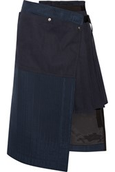 Sacai Hickory Asymmetric Pleated Striped Cotton Canvas And Organza Skirt Navy