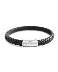 Tateossian Cobra Men's Braided Leather Bracelet Black