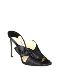 Jimmy Choo Keely Knotted Satin Crisscross Mules Black Madeline Purple