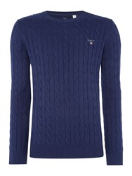 Gant Men's Crew Neck Cable Knit Jumper Marine