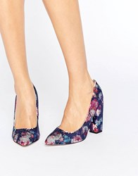 Little Mistress Floral Block Heel Court Print Navy Multi