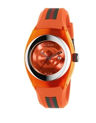 Gucci Sync Stainless Steel And Orange Rubber Strap Watch Ya137311
