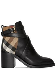 Burberry 70Mm Pryle Leather And Check Boots Black