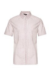 French Connection Men's Volley Stripe Connery Shirt Hot Pink