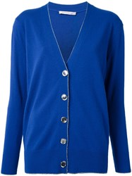 Christopher Kane Metallic Trim Cardigan Blue