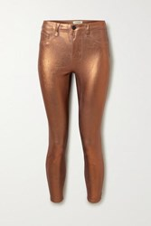 L'agence Margot Cropped Metallic Coated High Rise Skinny Jeans Bronze