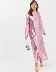 Sister Jane Long Sleeve Midi Dress In All Over Sequin Pink Sequin