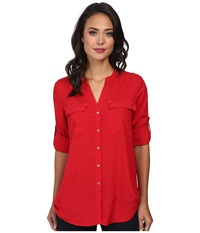Calvin Klein Crew Neck Roll Sleeve Top Rouge Women's Clothing Red