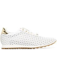 Baldinini Perforated Lace Up Sneakers White