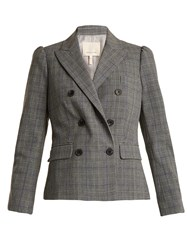 Rebecca Taylor Double Breasted Checked Jacket Grey Multi