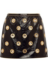 Marc Jacobs Embellished Patent Leather Mini Skirt Black