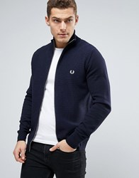Fred Perry Texture Knit Cardigan Stripe Zipthru In Navy Navy