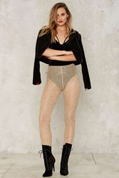 Jaded London Body Language Mesh Leggings Gold