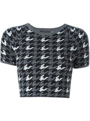Alice Olivia Houndstooth Knitted Top Black