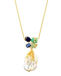 Indulgems Jumbo Pearl Drop Gemstone Cluster Necklace Women's
