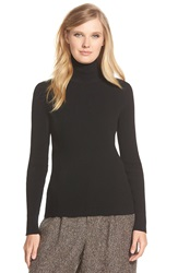 Pink Tartan Back Cutout Rib Knit Turtleneck Black