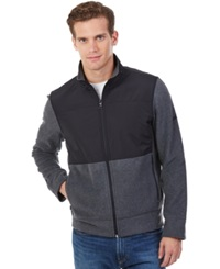 Nautica Mixed Media Zip Front Track Jacket Charcoal Heather