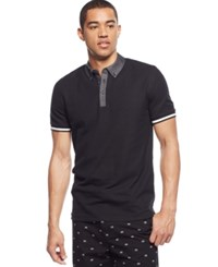 Sean John Classic Chambray Trim Polo Pm Black