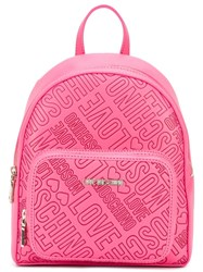 Love Moschino Logo Embossed Backpack Pink Purple