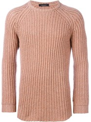 Roberto Collina Cable Knit Fitted Jumper Pink And Purple