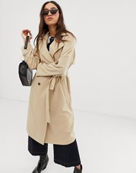 Stradivarius Trench Coat With Tortoise Effect Buttons In Beige Beige