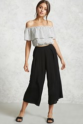 Forever 21 Crinkled Pleated Culottes Black