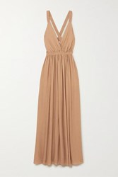 Matteau Gathered Crepon Maxi Dress Sand