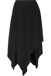 Adam By Adam Lippes Draped Crepe Midi Skirt Black