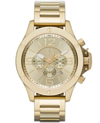 Ax Armani Exchange Men's Chronograph Gold Ion Plated Stainless Steel Bracelet Watch 48Mm Ax1504