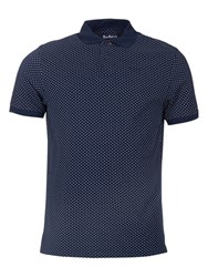 Barbour Cross Print Polo Top Navy