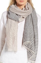 Eileen Fisher Women's Stripe Organic Cotton And Linen Scarf Silver
