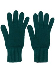 Pringle Of Scotland Gloves With Ribbed Details Green